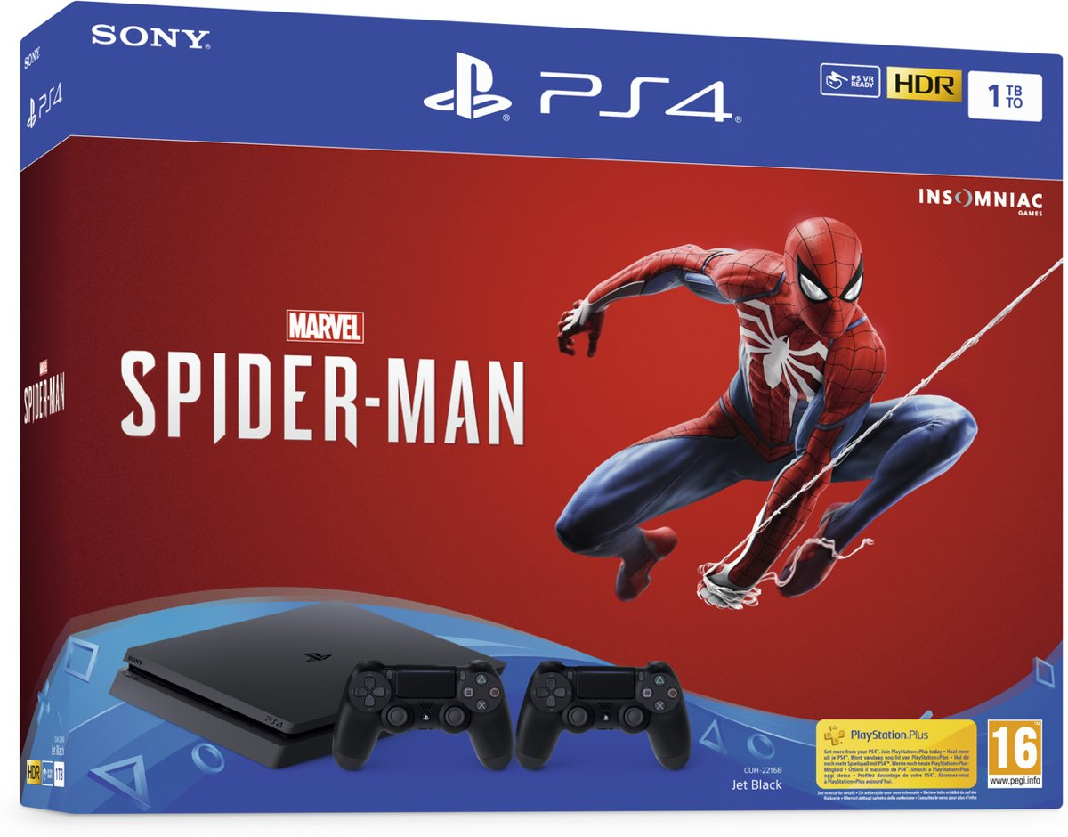 Playstation 4 Slim Console - 1TB + Marvels Spider Man + DualShock 4 Controller
