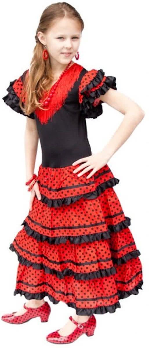 a7607dd2ae4d21 Spaanse jurk - Flamenco - Zwart Rood - Maat 140 146 (12) - Verkleed jurk