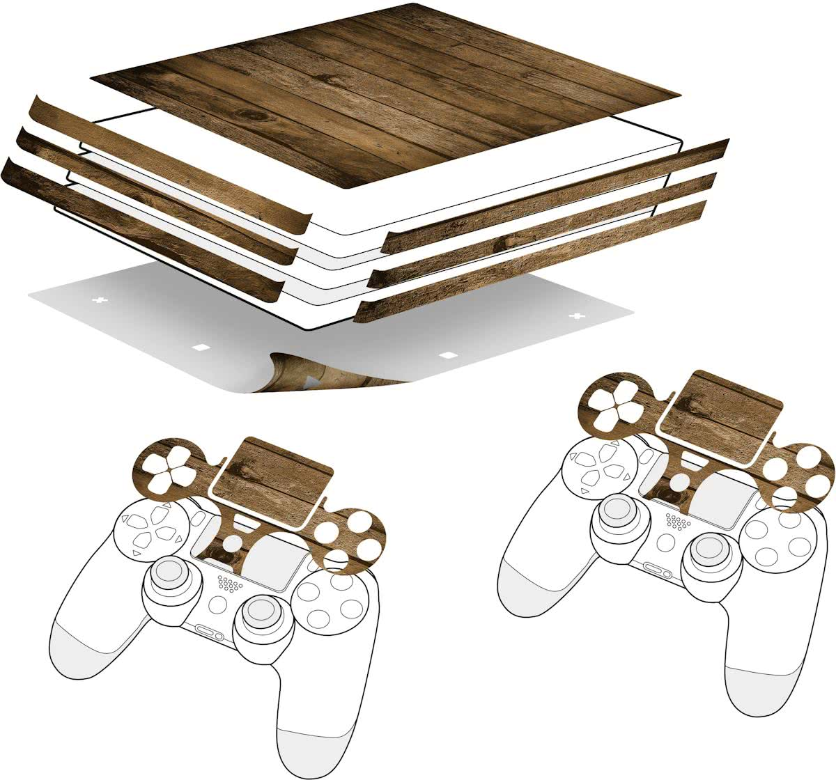 - Sticker for PS4 Pro & Controller - Wood
