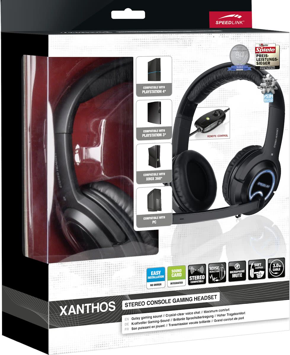 XANTHOS - Stereo Console Gaming Headset - Zwart PS4 + PS3 + Xbox 360 + PC