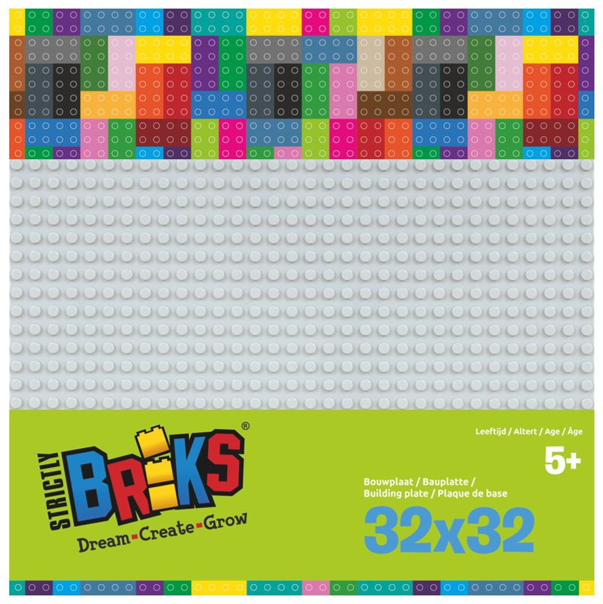 Strictly BRIKS LBP32GY Bouwplaat 32x32 Lichtgrijs