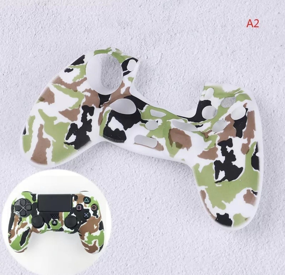 PS4 Controller Protector Siliconen - Camouflage Army Wit