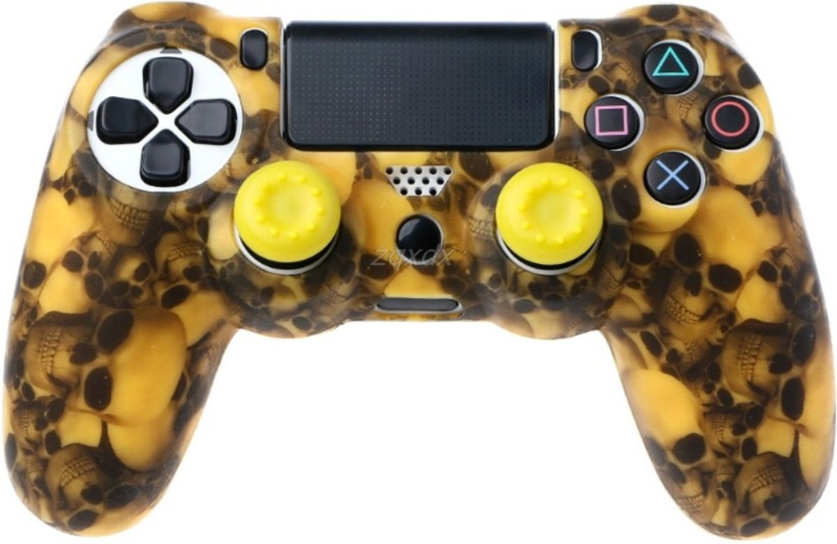PS4 Controller Silicone Hoes Playstation 4 - Camouflage geel + 2 joystick geel dopjes