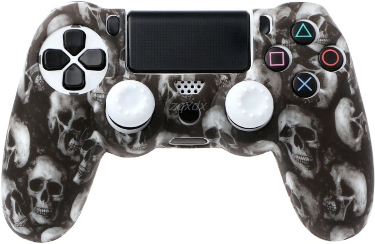 PS4 Controller Silicone Hoes Playstation 4 - Camouflage wit + 2 joystick wit dopjes