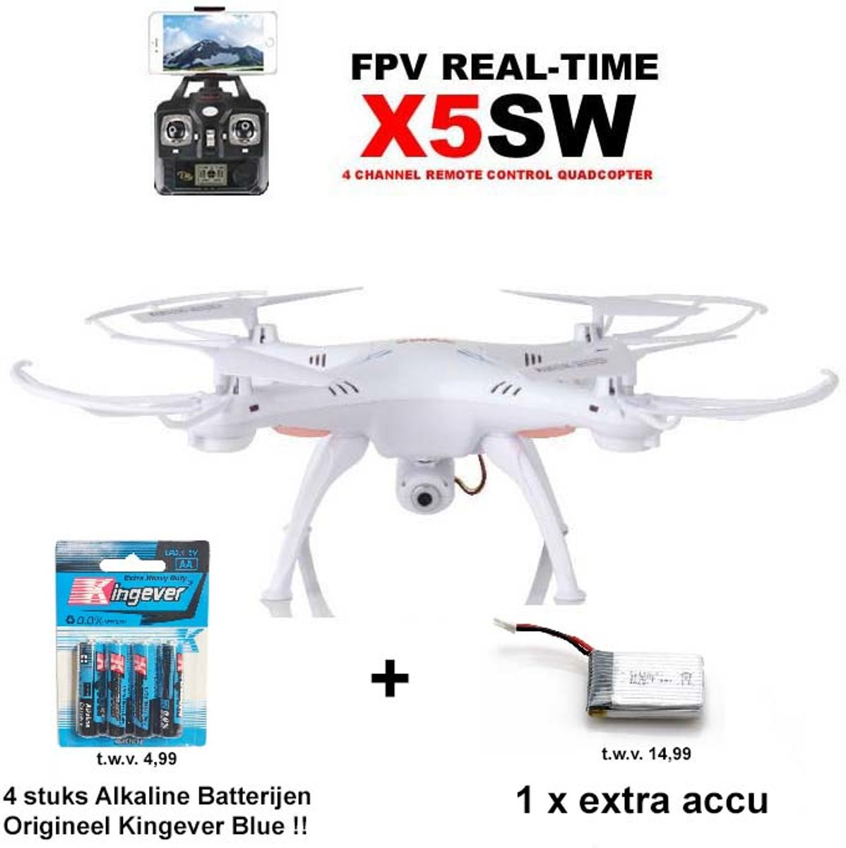 Drone Quadcopter Live HD Camera -  X5SW + Extra Accu  & Batterijen! wit
