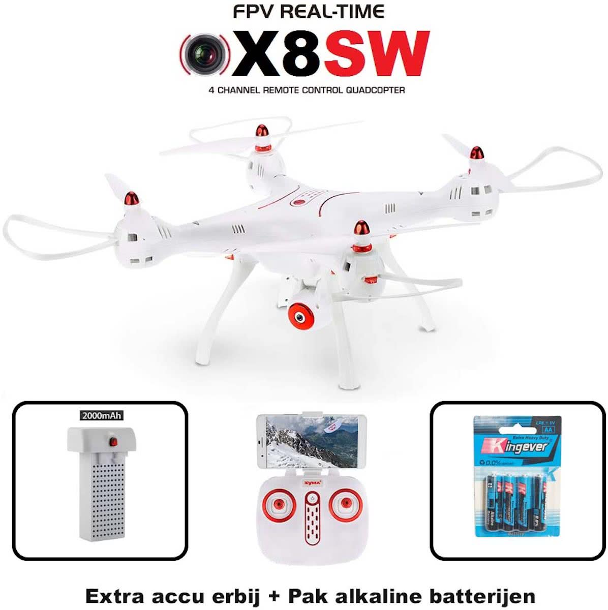 Drone Syma X8SW FPV 720P HD Camera quadcopter + Combi set( Extra accu en 4x batterijen origineel)