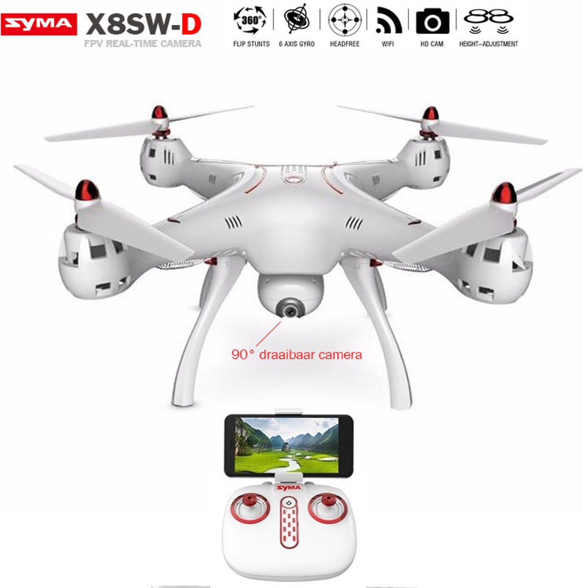 SYMA X8SW-D Quadcopter - HD Live Draaibaar Camera beelden -FPV  DRONE - 2.4GHZ