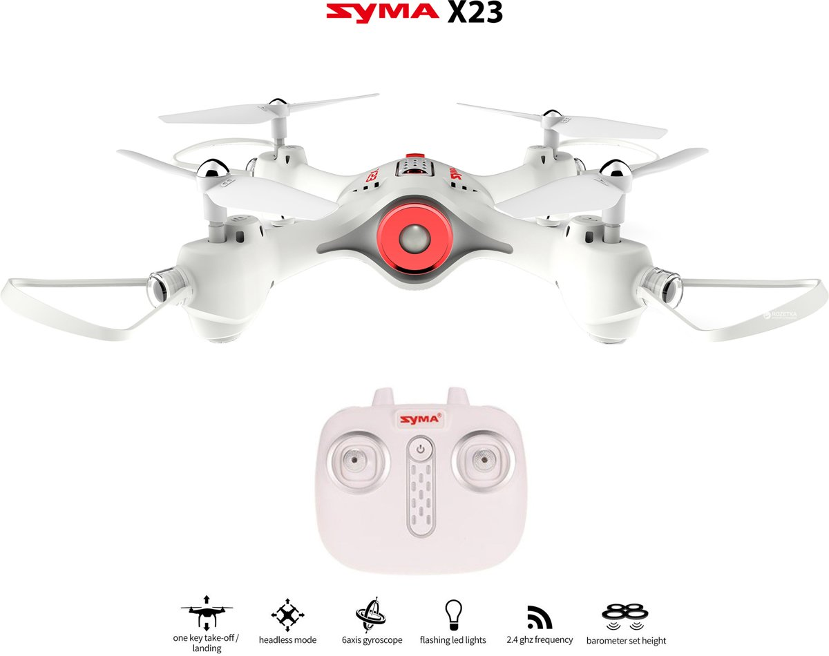 Syma X23 Quadcopter | Drone met hover mode + One Key Take off/ Landing Functie - Perfect voor Beginners - wit