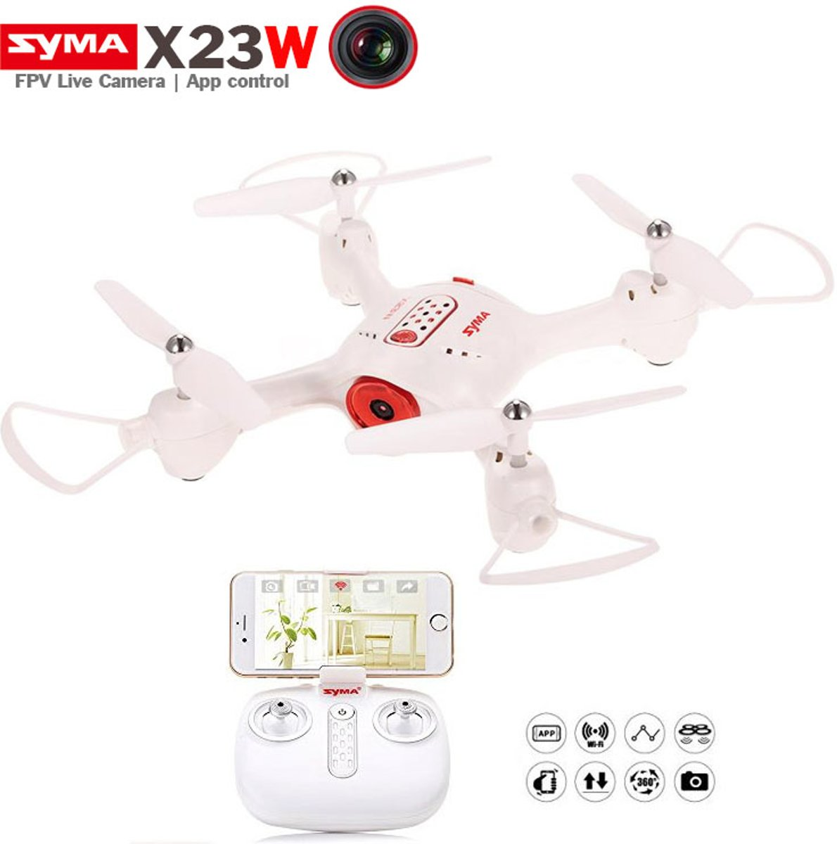 X23W Quadcopter - Live HD Camera FPV Drone met hovermode & App control functie - wit