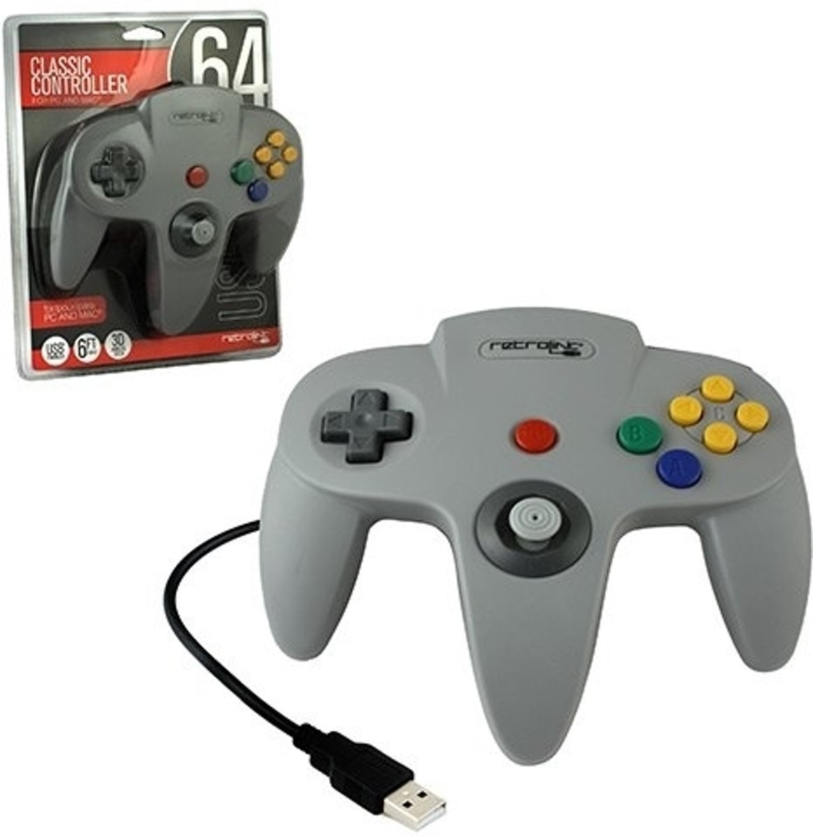 N64 Style USB Controller (Grijs)