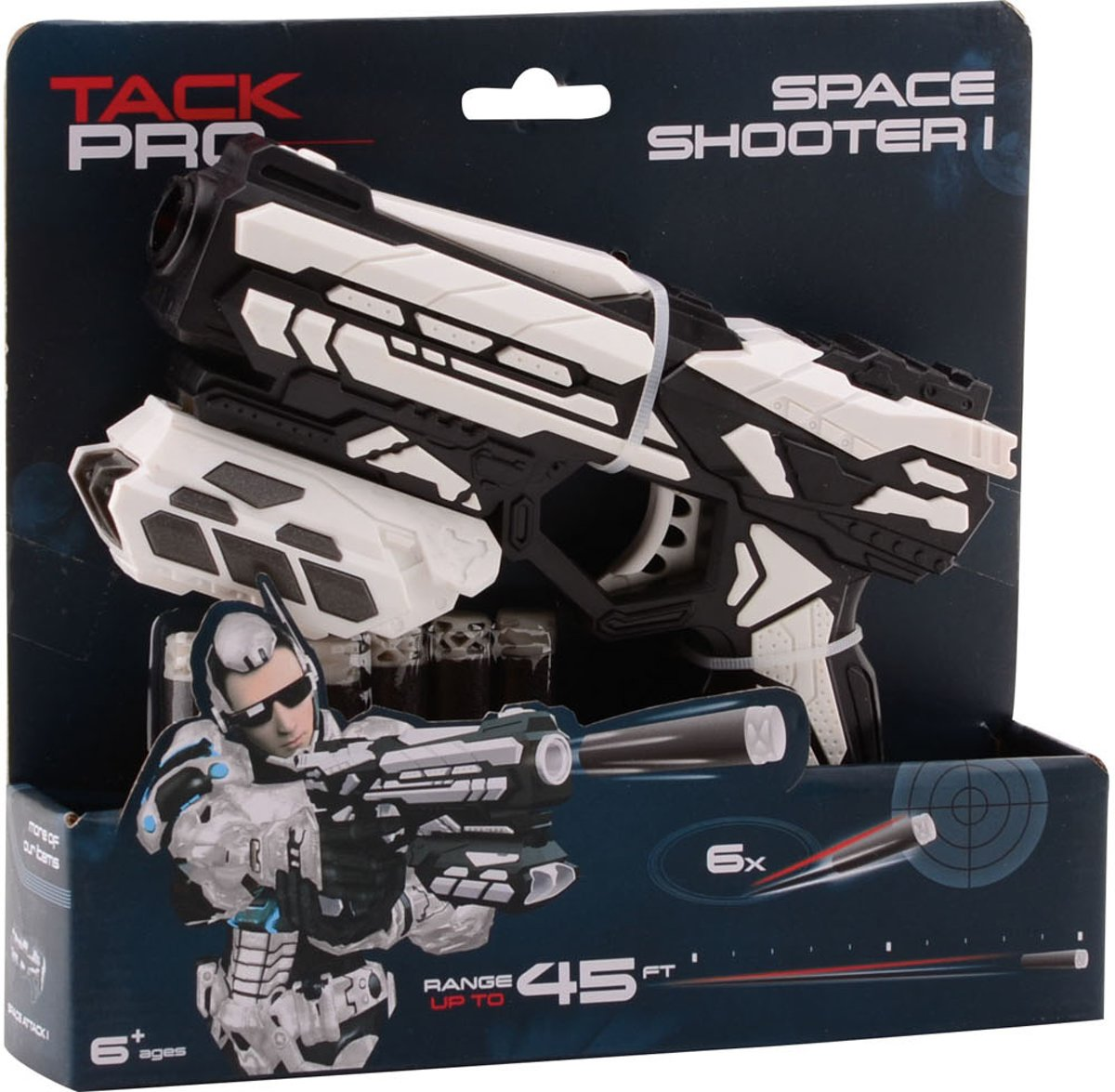 Tack Pro Space Shooter 1 met 6 darts, 18 cm
