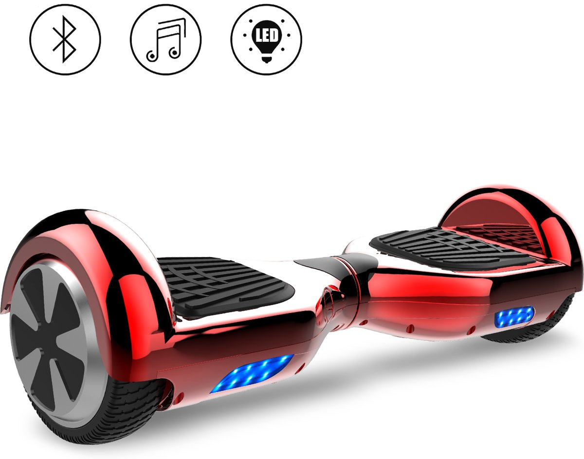 Tailwind Self Balancing Smart Hoverboard Balance Scooter 6.5 inch/ Bluetooth-speakers / LED Verlichting /speciaal ontwerp - Rood Chroom