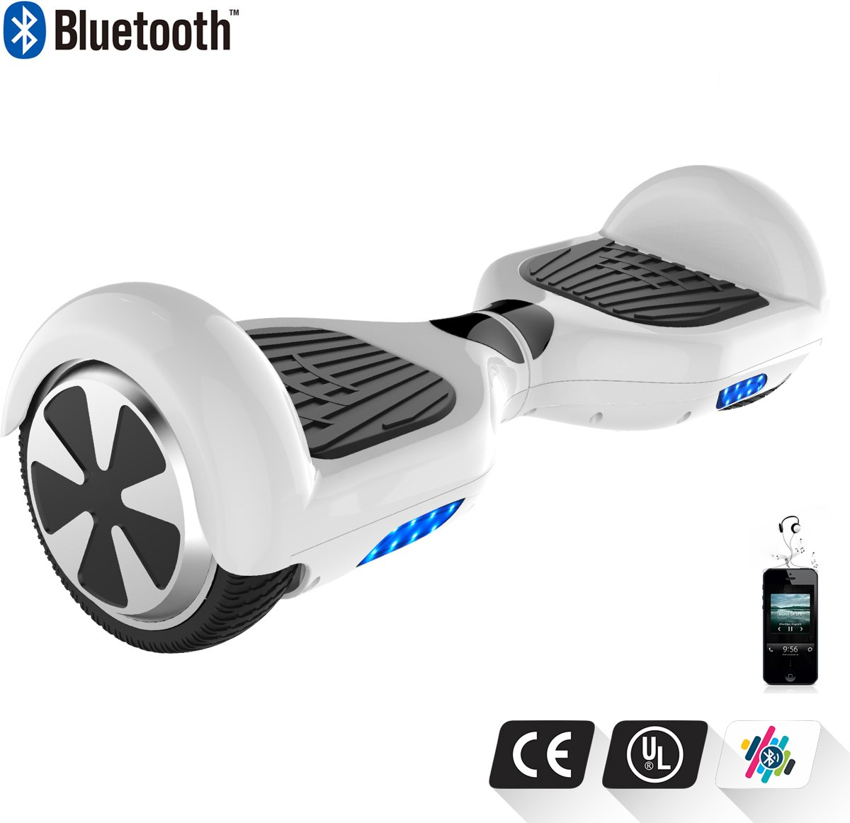 Tailwind Self Balancing Smart Hoverboard Balance Scooter 6.5 inch/ V.5 Bluetooth speakers/ LED Verlichting /speciaal ontwerp - Wit