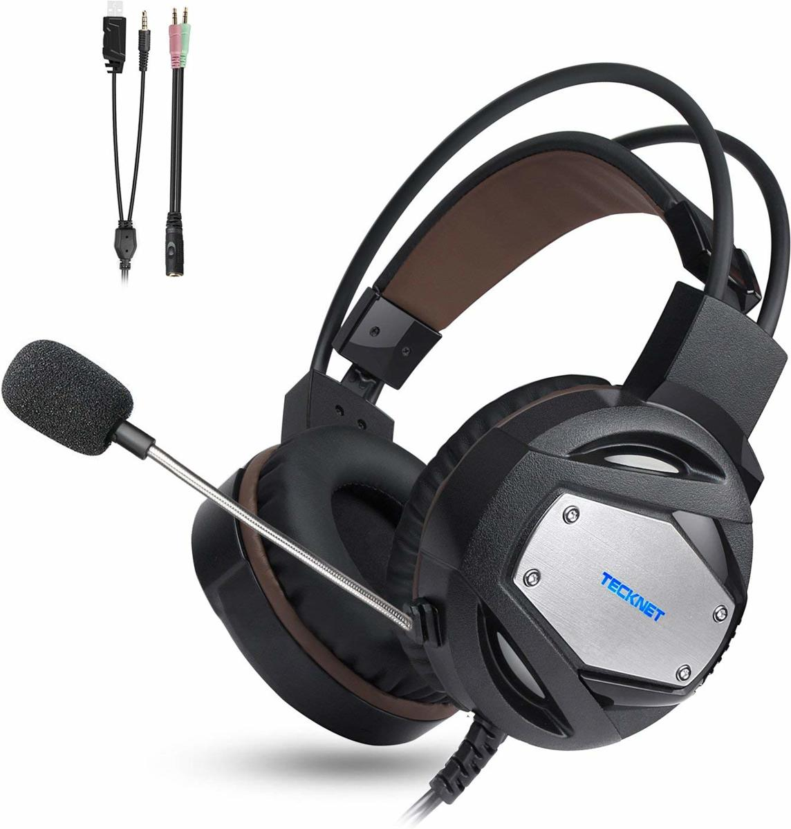 Tecknet On-ear Gaming Headset (PC + PS4 + Xbox One + Mac + Laptops + Mobiele telefoons) - Met Noise Cancelling Mic & Volume Control - Zwart