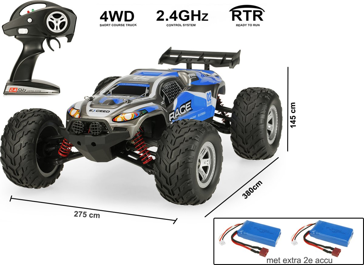 Rc Auto -   Short Course Truck car 1:12 - 2,4 GHz 4WD - Brushless motor - 30KM/H + Extra accu