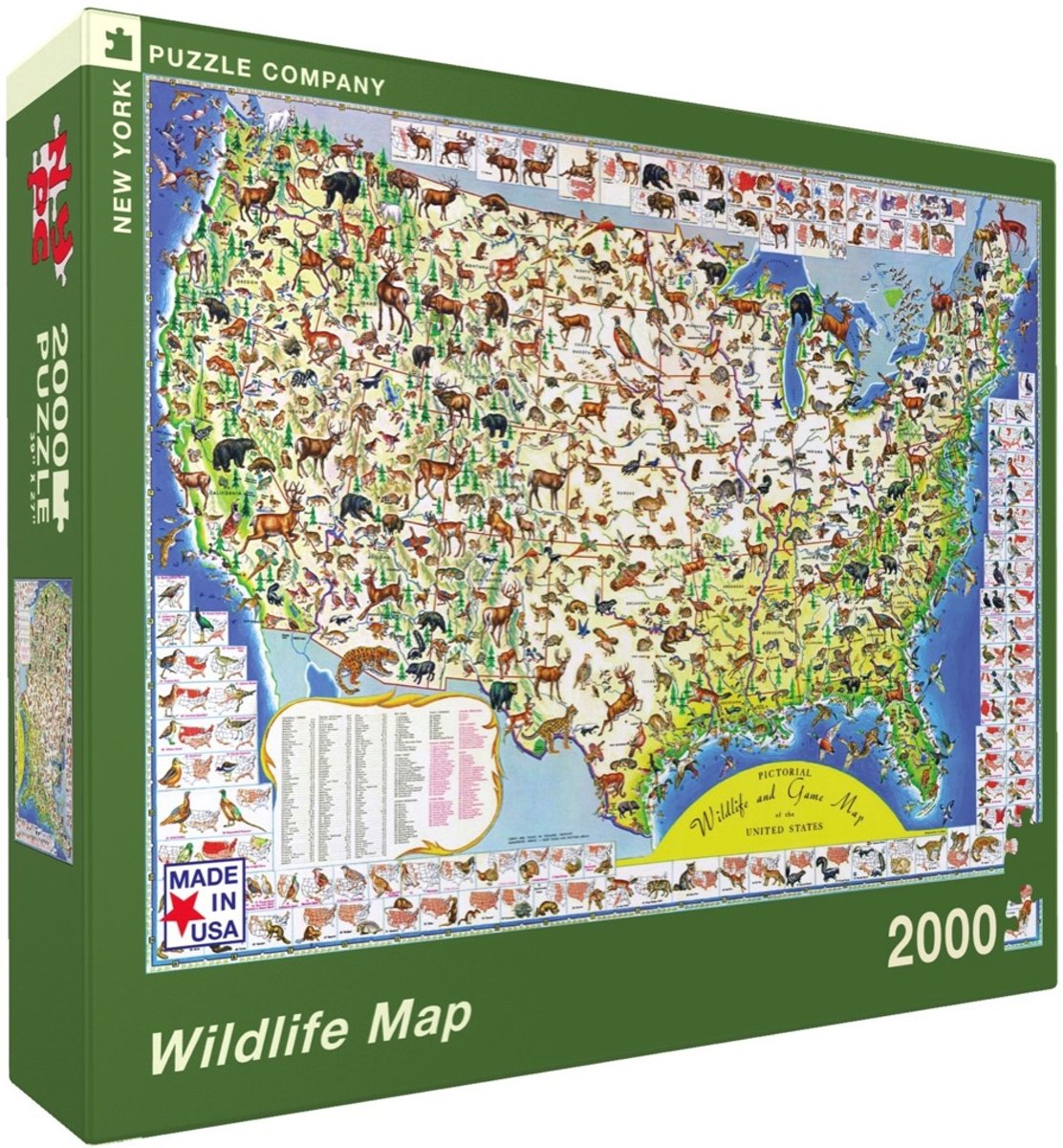 Wildlife Map - NYPC Vintage Images Collectie Puzzel 2000 Stukjes