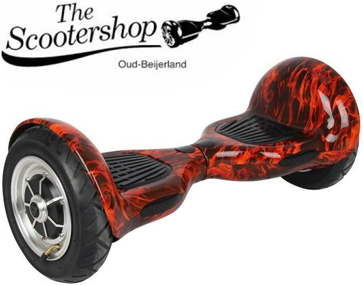 The Scootershop Hoverboard - 10inch - 700W - Flame/Rood, SAMSUNG 20cell, TAOTAO printset