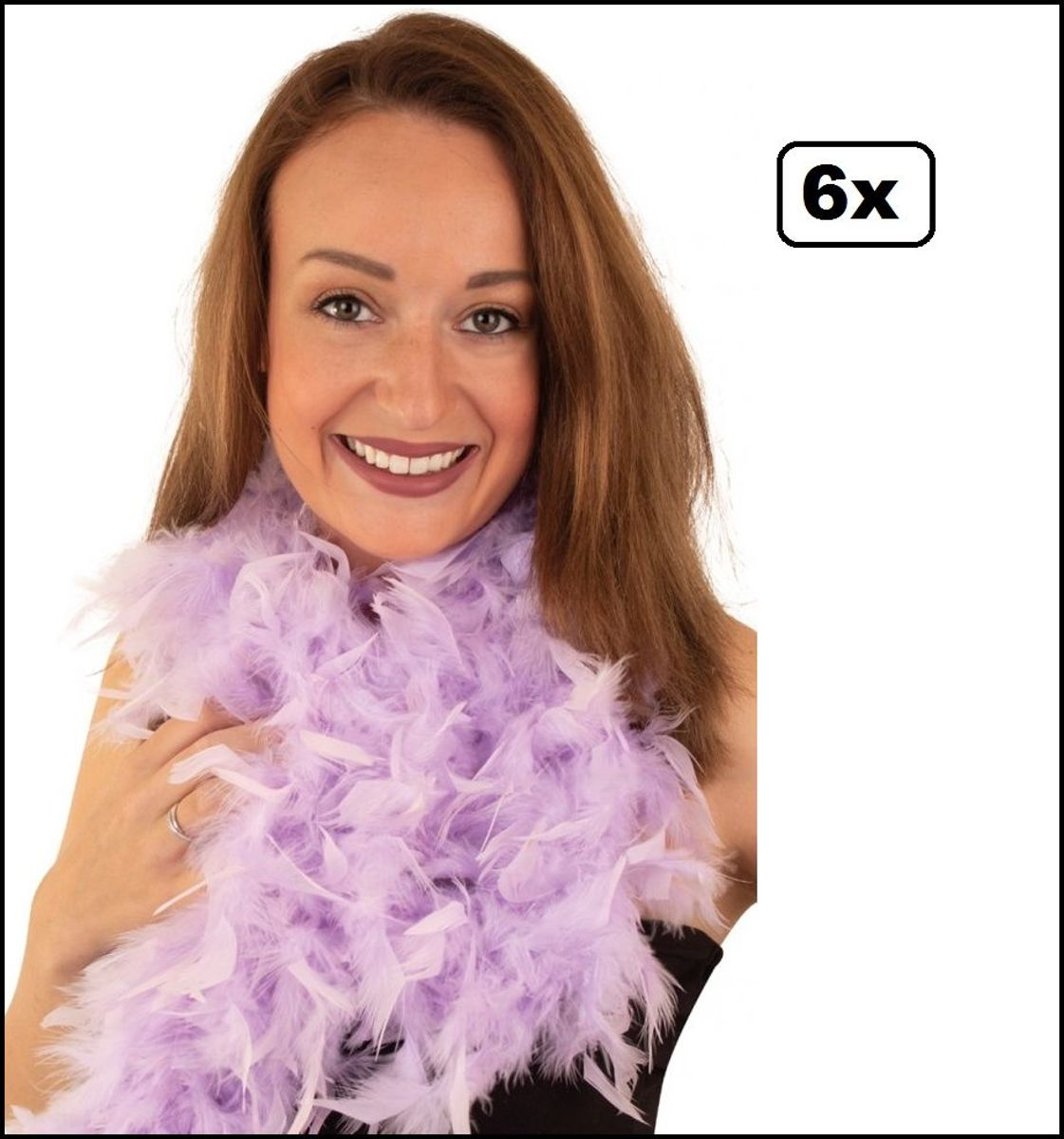 6x Boa pastel paars 180 cm - carnaval veren sjaal pastel festival feest party