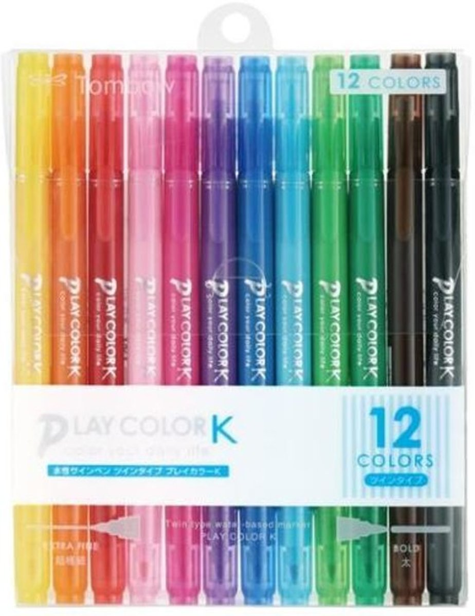 Tombow Play Color K Double-Sided Marker - 0.3 mm / 0.8 mm - 12 Kleuren Set  + 1 Wire-O A5 gebonden Boek