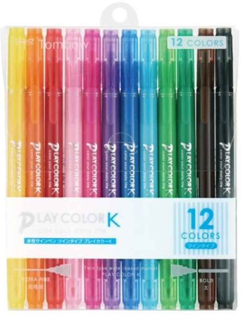 Play Color K Double-Sided Marker - 0.3 mm / 0.8 mm - 12 Kleuren Set