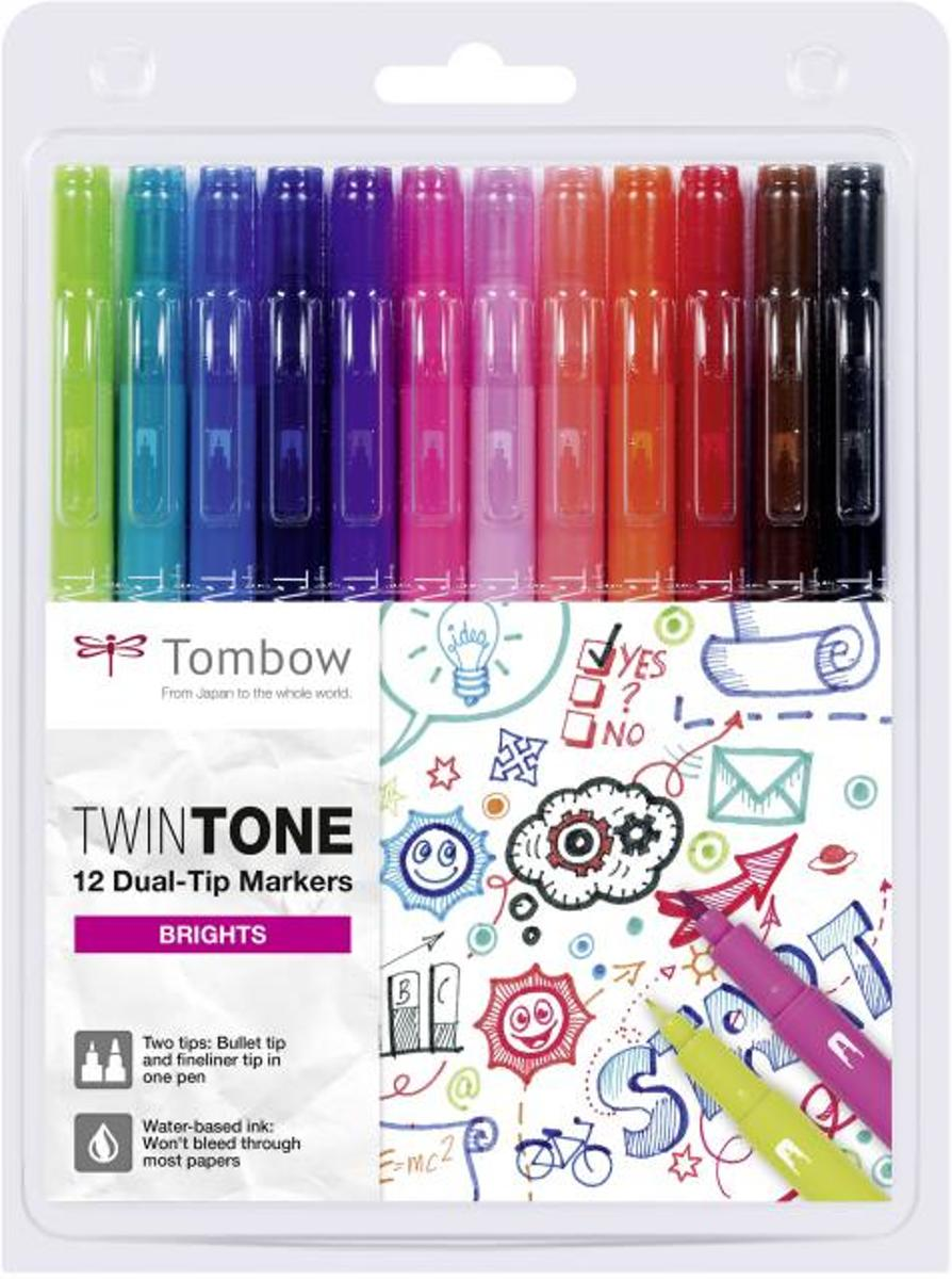 TwinTone Marker Set – Bright Colours - Set van 12 + verpakt in een  A5 Zipperbag