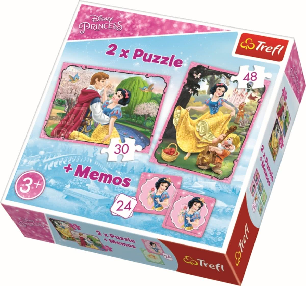 2 in 1 + memos - Snow White in love - Sneeuwwitje Disney Legpuzzel