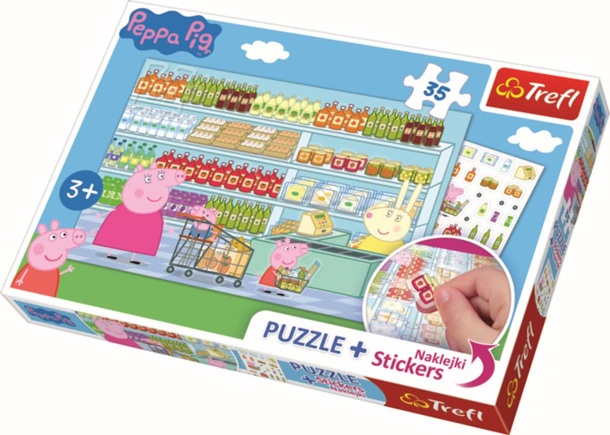 35 pcs plus stickers /  Peppa Pig Legpuzzel