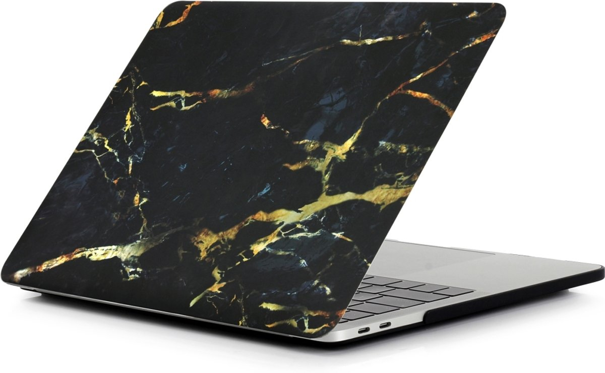Macbook Air 13,3 Inch A1932 (2018 - 2019) Design Marmer / Marble Case Cover Hoes| + Dust Plugs | Premium Kwaliteit | Black-Gold Mix