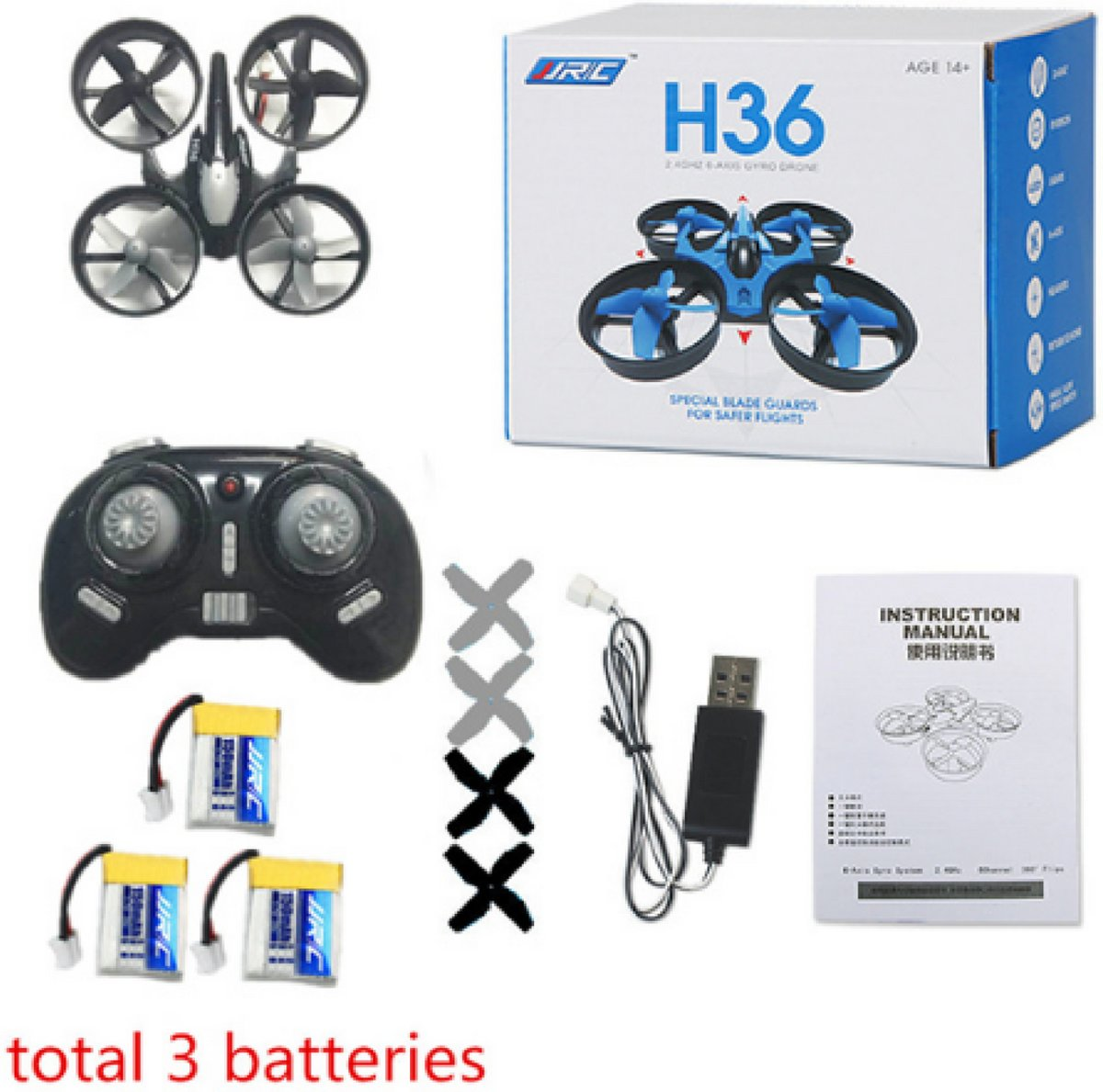Mini Drone Jjrc H36 - Drone - Quadcopters - Return Key - RC - Helicopter - Kinderspeelgoed - Zwart