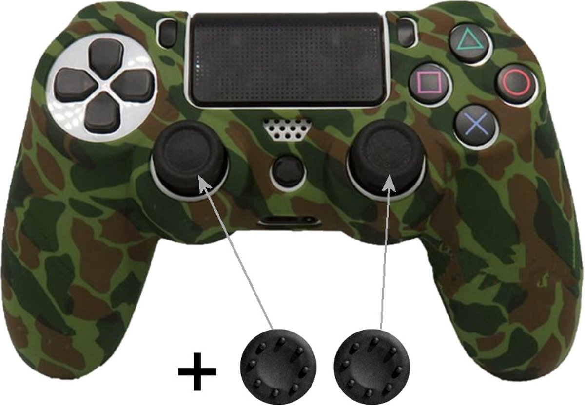 PS4 Controller Skin Hoesje Silicone Case - Camouflage Army + Thumb Grips