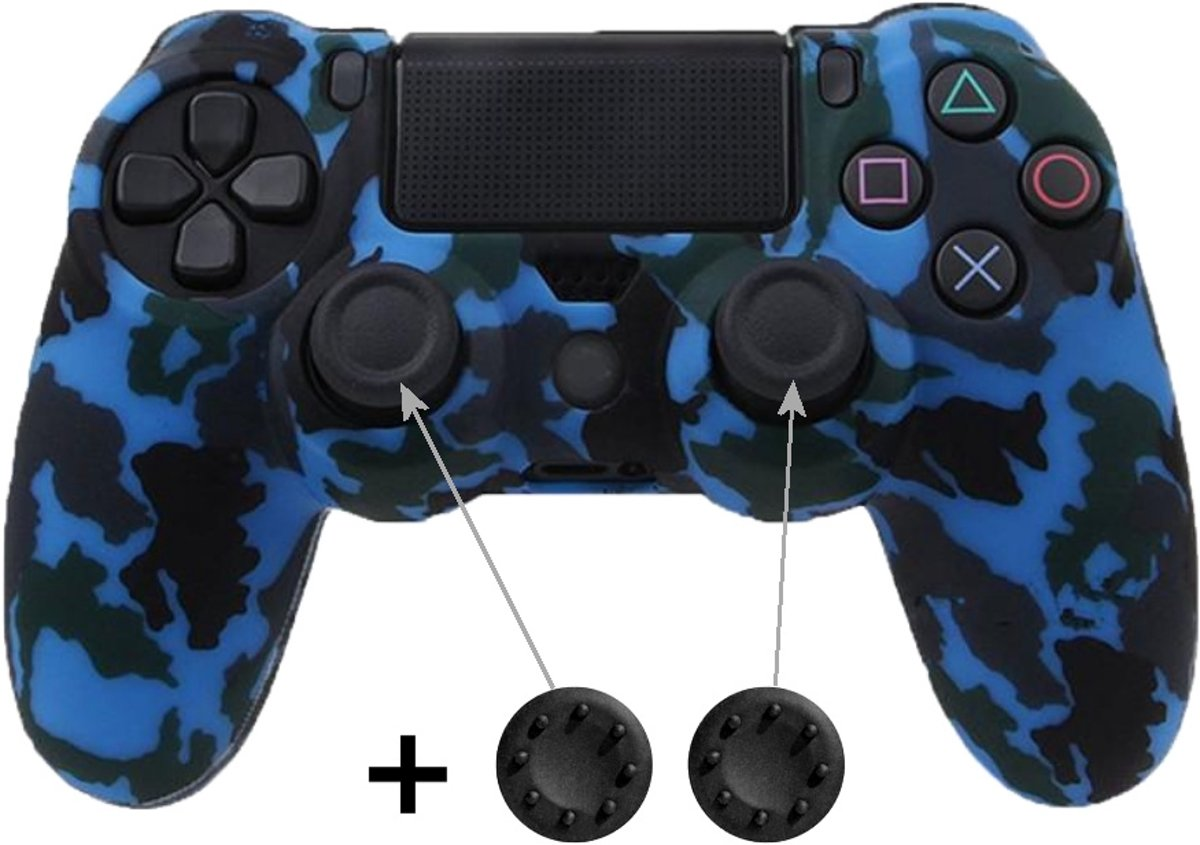 PS4 Controller Skin Hoesje Silicone Case - Camouflage Blauw + Thumb Grips