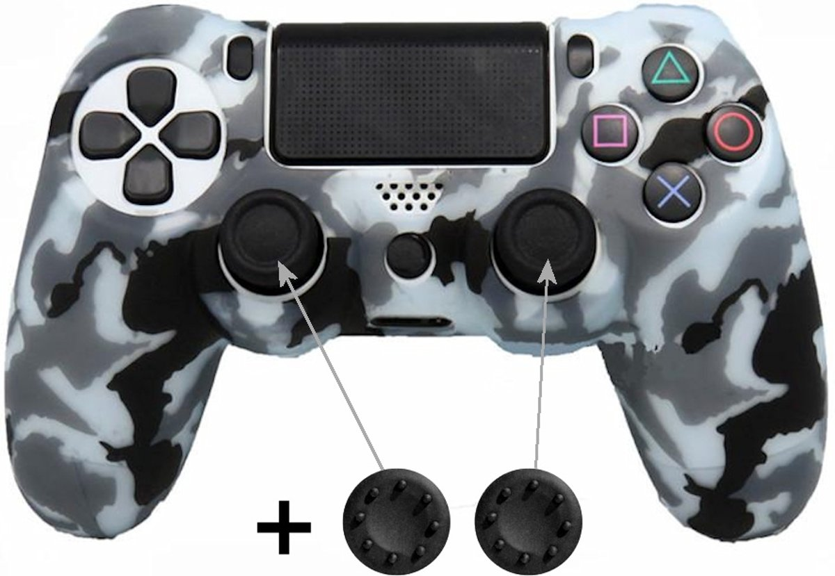 PS4 Controller Skin Hoesje Silicone Case - Camouflage Zwart/Wit + Thumb Grips