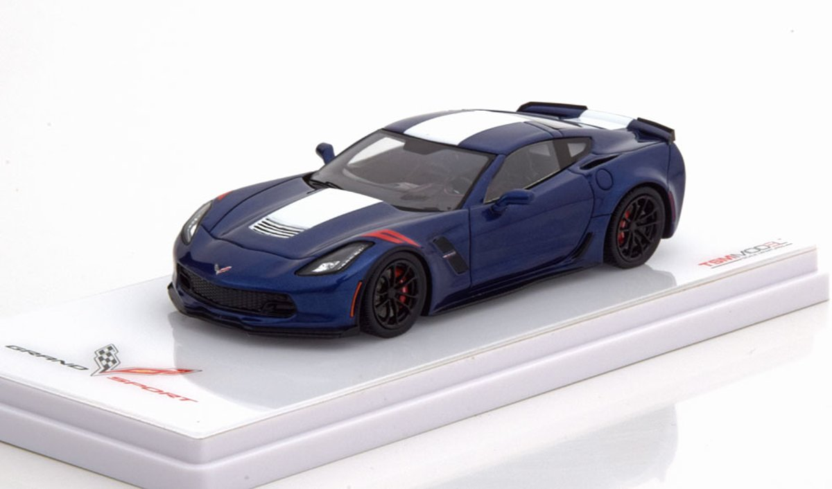 Chevrolet Corvette C7 Grand Sport Coupe 1-43 Blauw Metallic / Wit True Scale Miniatures ( Resin )