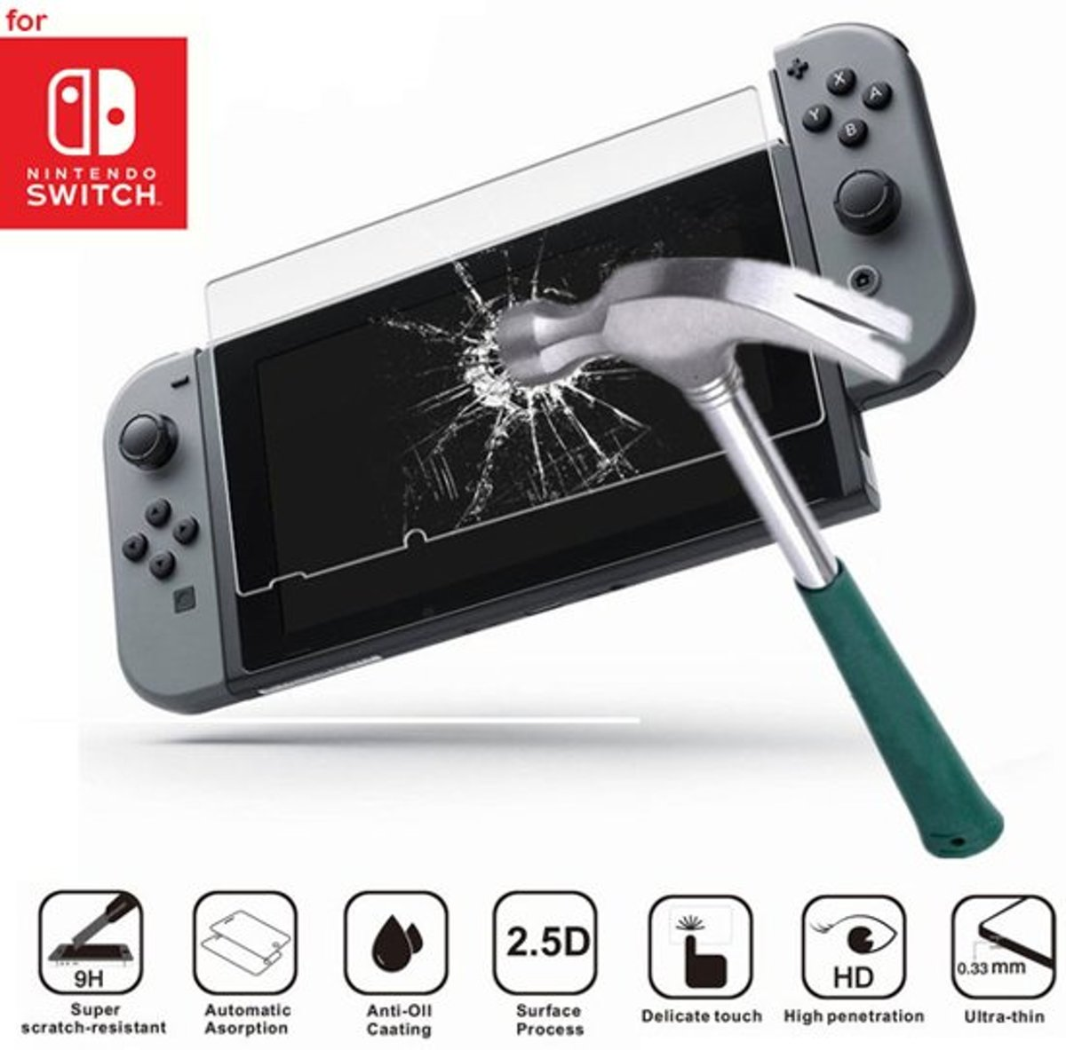 Nintendo Switch 9H Tempered Glass Screen Protector (Gehard glas)