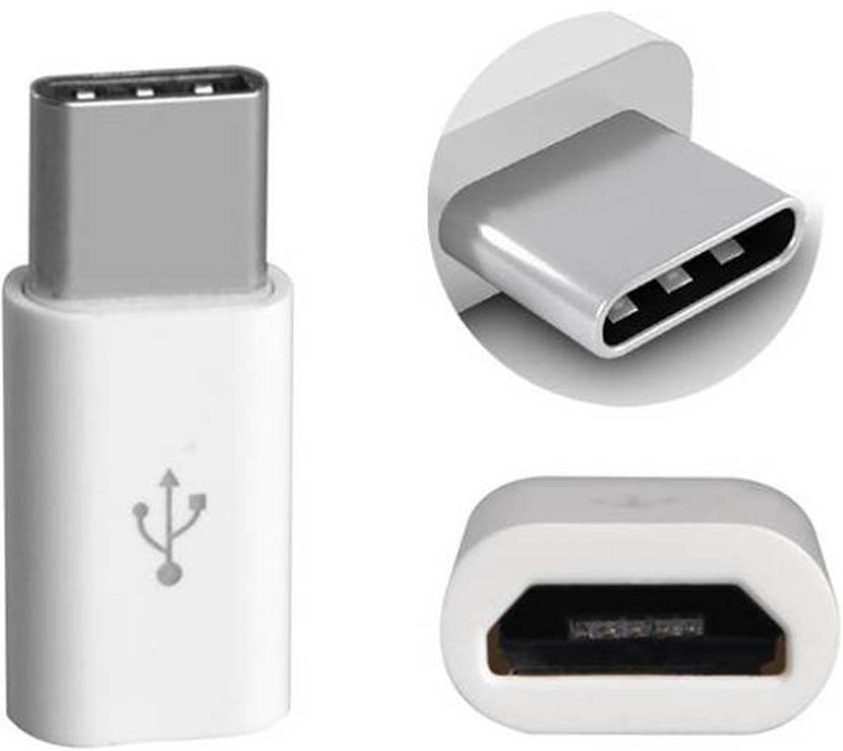 Micro USB naar USB C - converter - Android adapter - WIT -