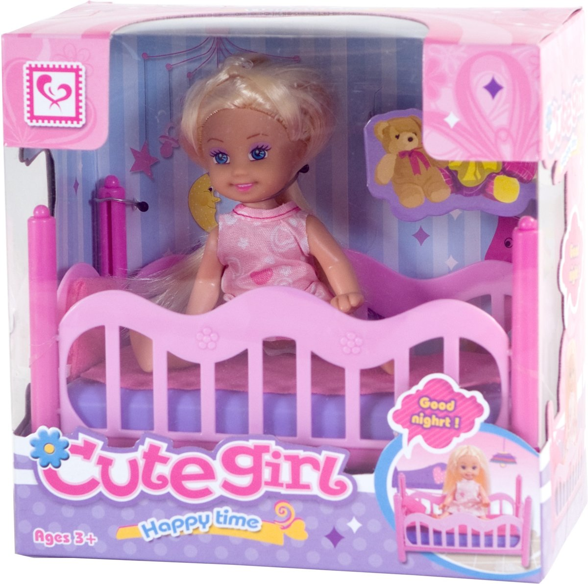 Poppen | Mini Poppen - Cute Girl Slaap Speelset