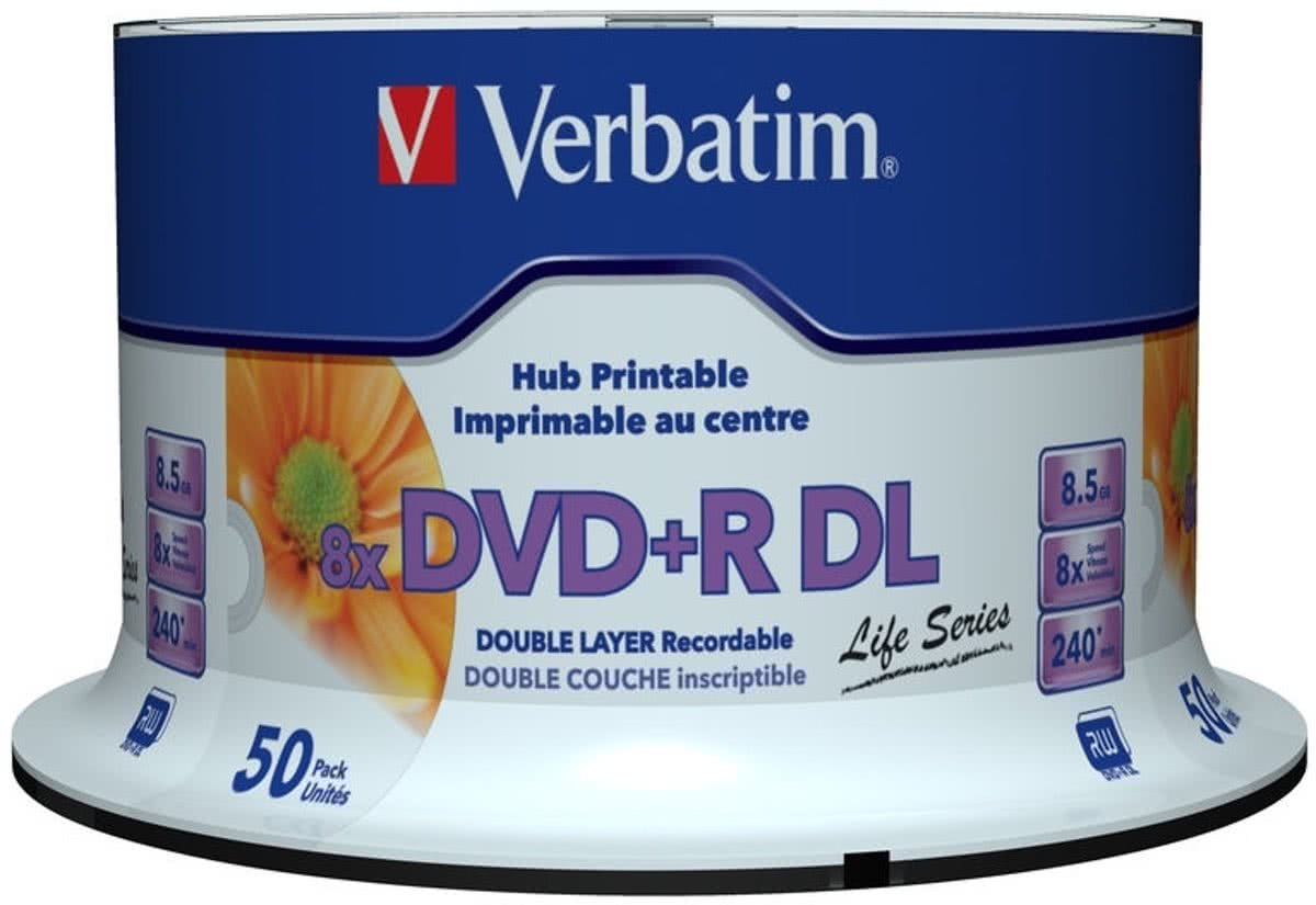DVD+R Double Layer Inkjet Printable 8x Life Series 8.5GB DVD+R DL 50stuk(s)
