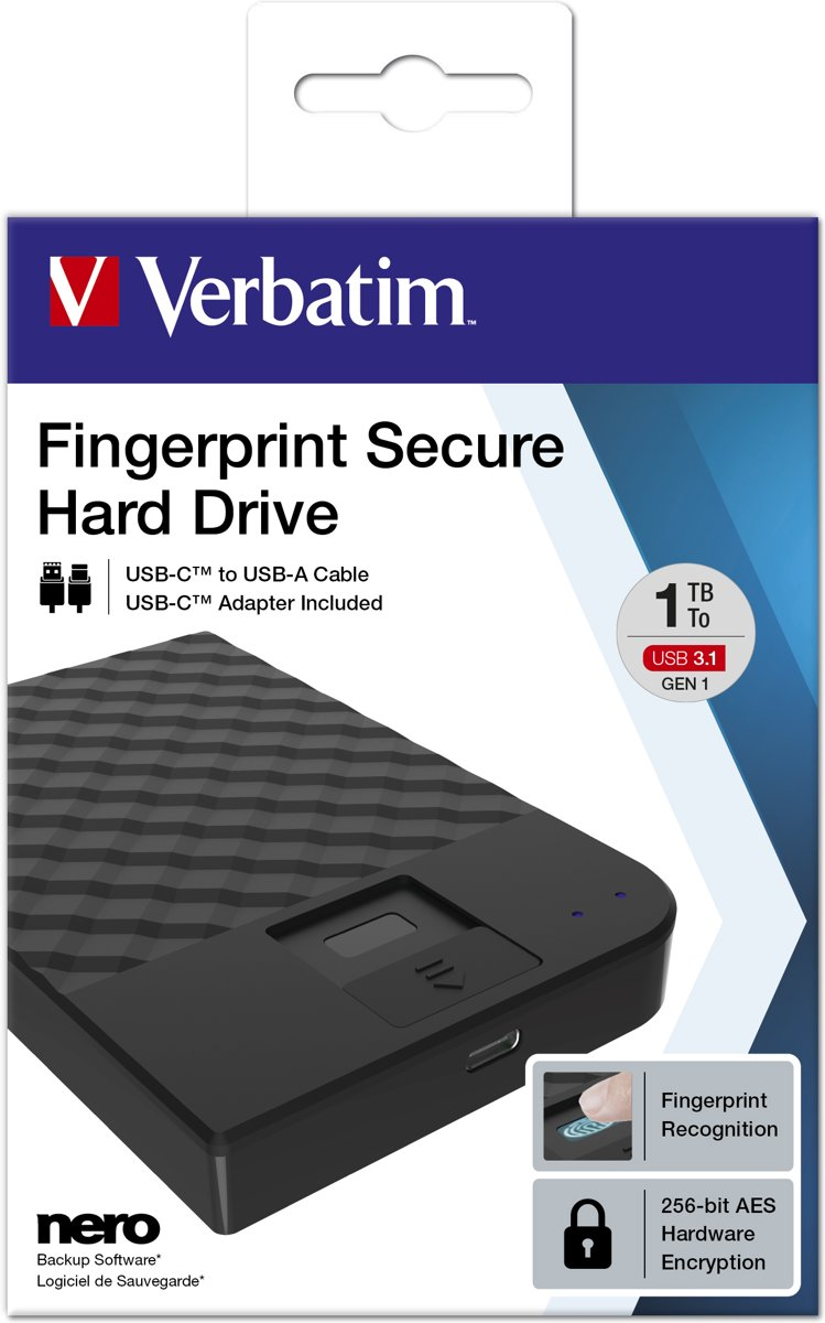 Fingerprint Secure Hard Drive 1TB