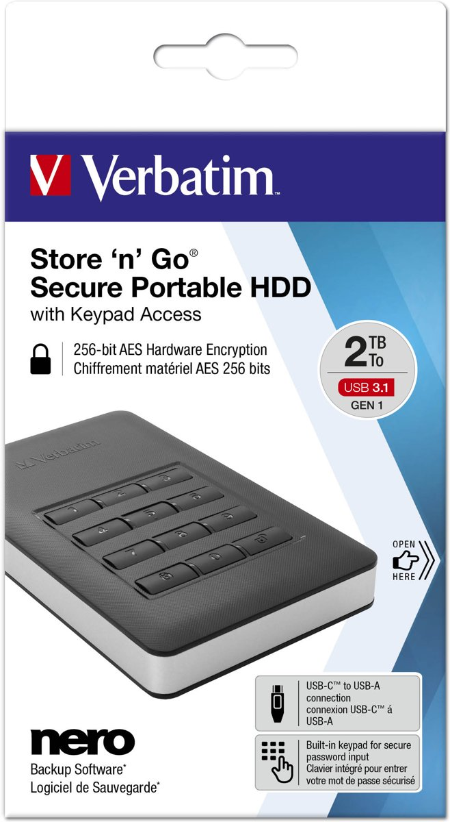 Store n Go Secure Portable HDD 2 TB with Keypad
