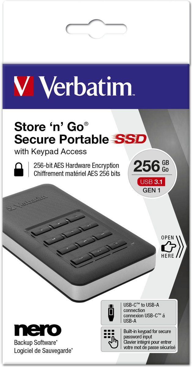 Store n Go Secure Portable SSD 256 GB with Keypad