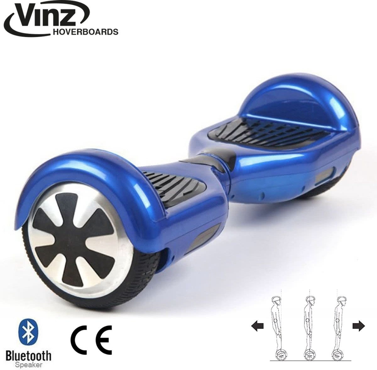Vinz Hoverboard incl. Bluetooth Boxen & LED 6,5 Inch - Blauw