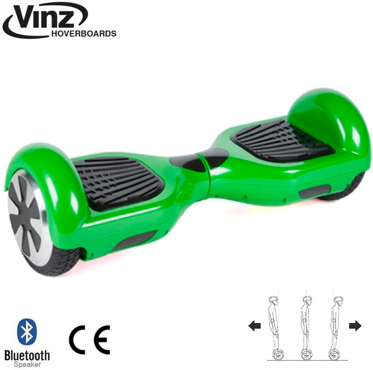 Vinz Hoverboard incl. Bluetooth Boxen & LED 6,5 Inch - Groen