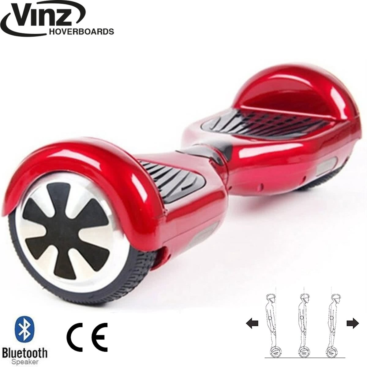 Vinz Hoverboard incl. Bluetooth Boxen & LED 6,5 Inch - Rood