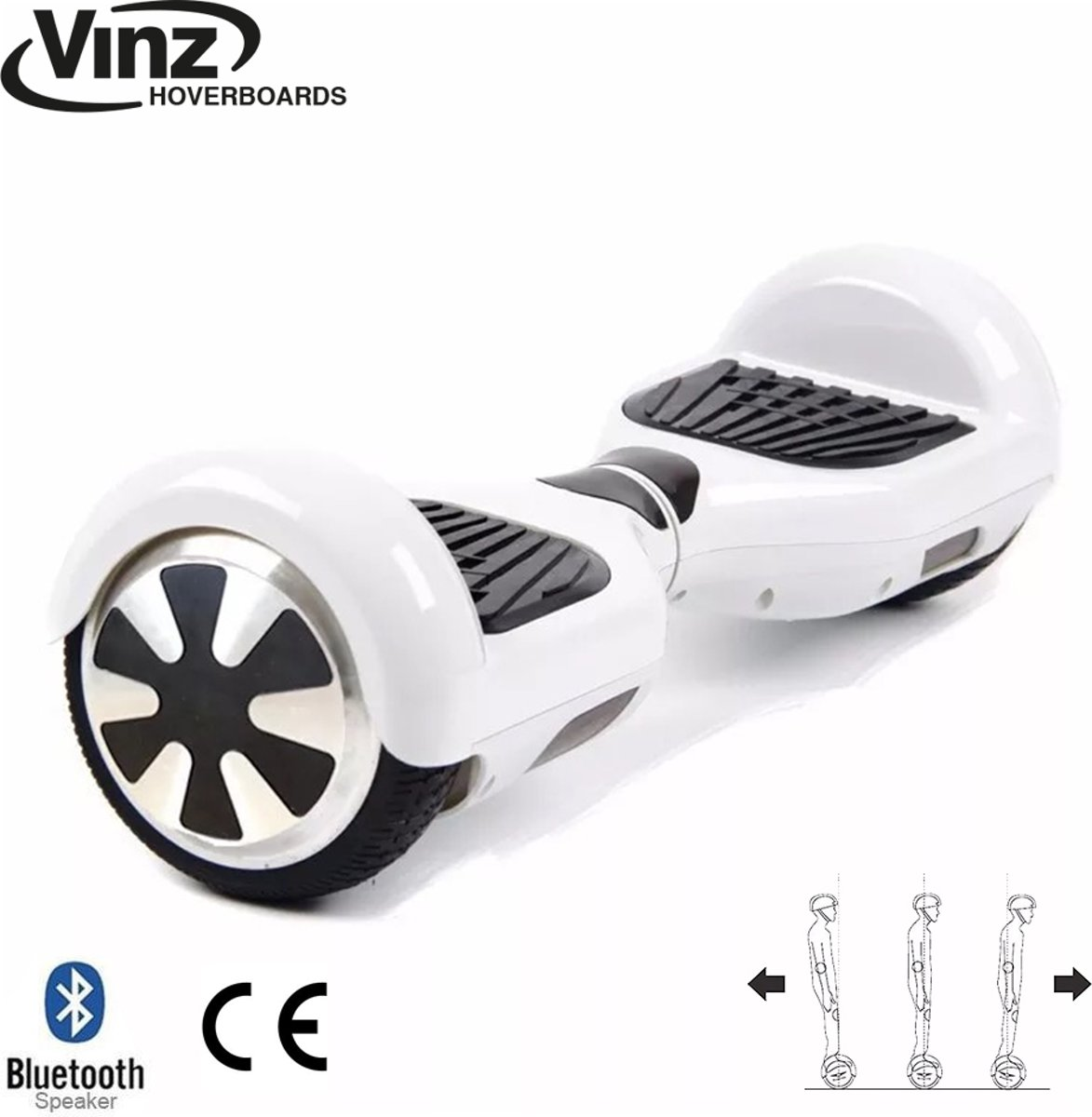 Hoverboard incl. Bluetooth Boxen & LED 6,5 Inch - Wit