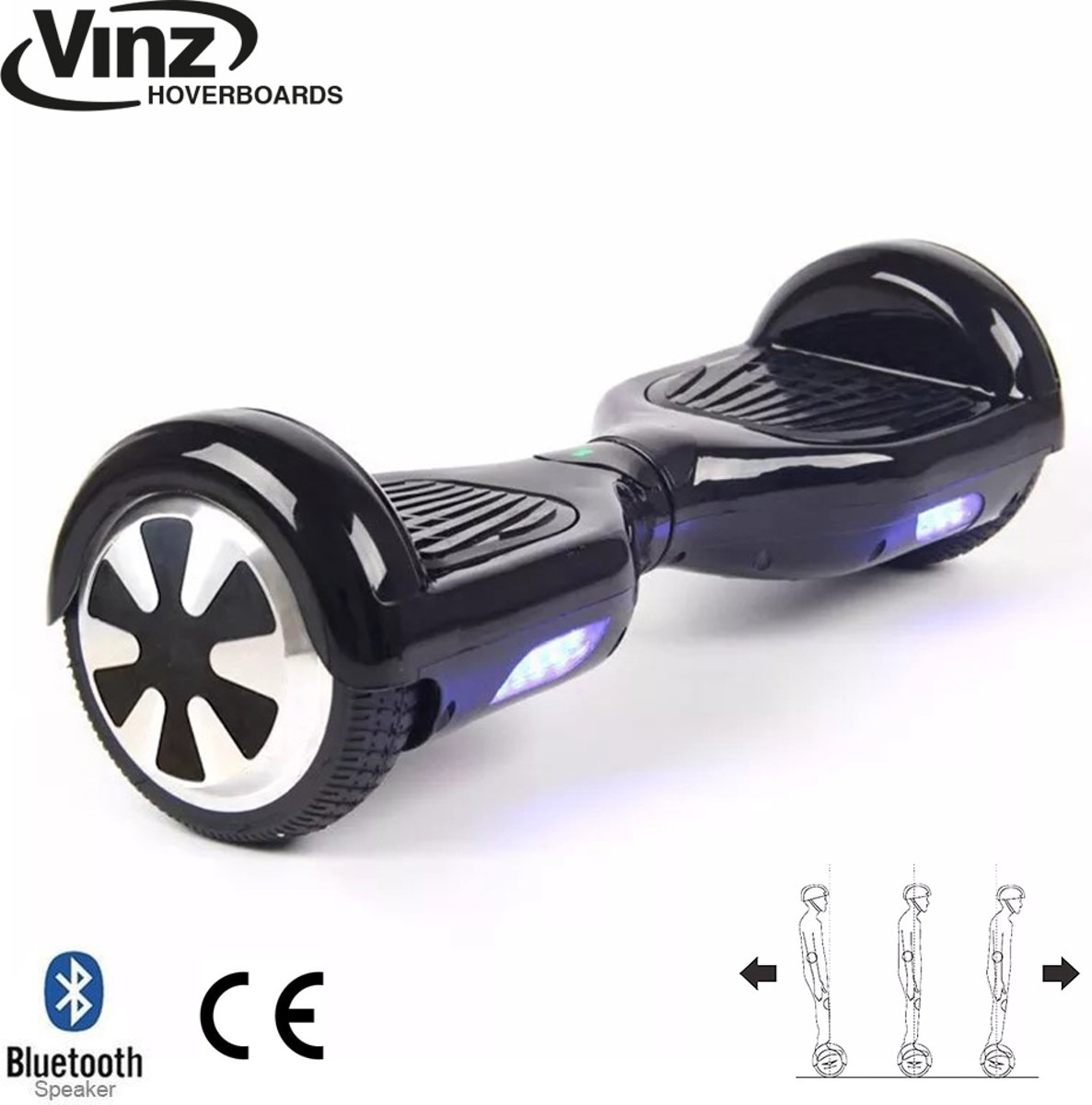 Vinz Hoverboard incl. Bluetooth Boxen & LED 6,5 Inch - Zwart