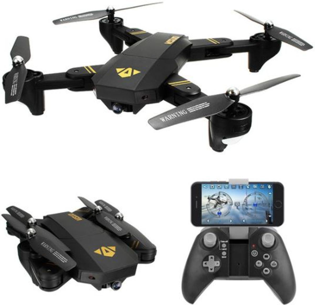 RC drone XS809H-W-HD-G (inclusief 3 batterijen) met FPV Wifi met Wide Angle HD camera (quadcopter)
