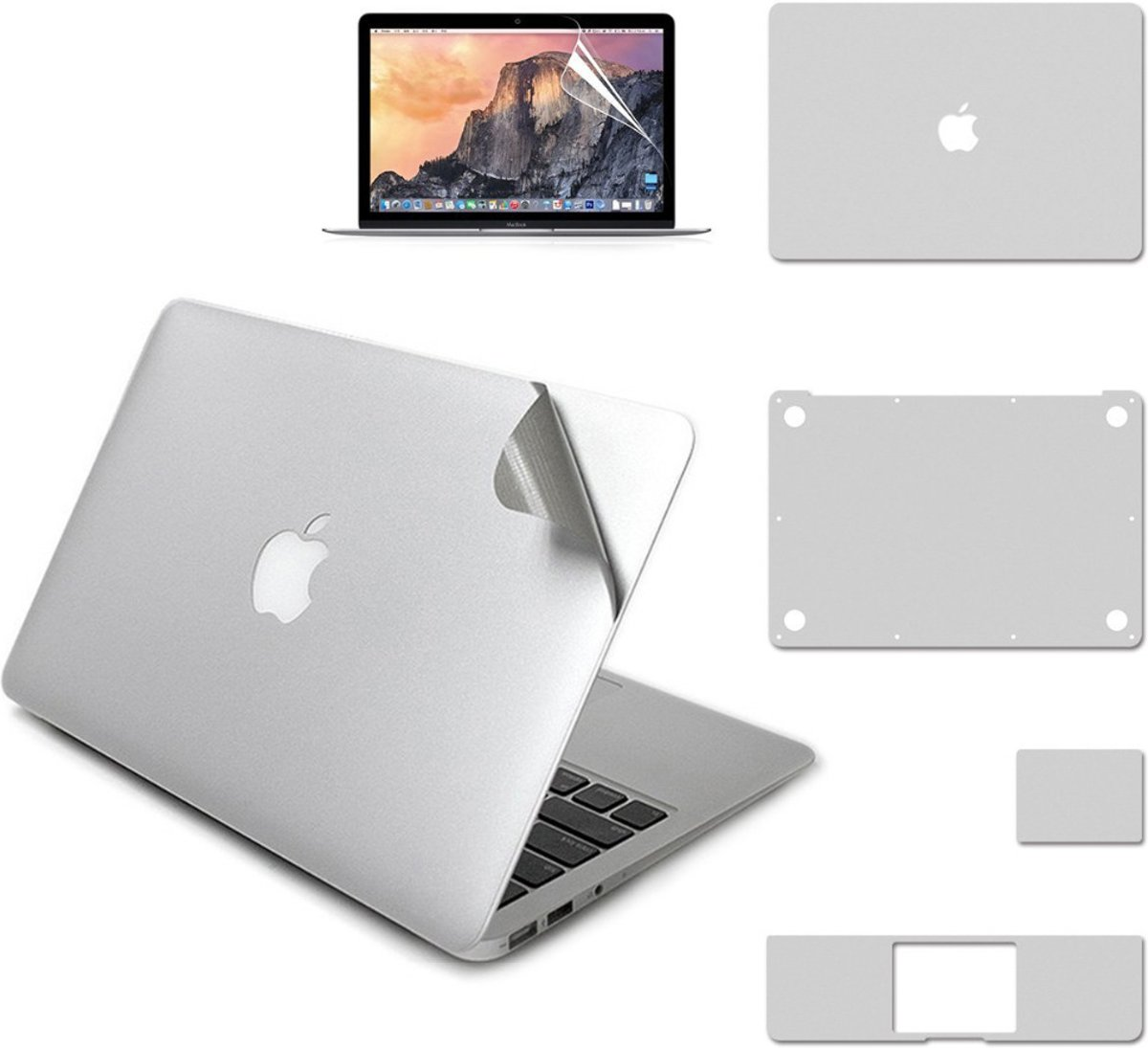 5-in-1 Nano Body Guard Anti Scratch 3M Protector voor Apple MacBook 12 inch Retina - Zilver