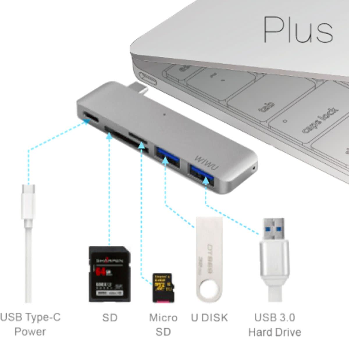 C1 Plus 5-in-1 Type C convertor ( 1x Type-C, 1x SD Card, 1x Mini SD Card, 2x USB 3.0) - Grijs