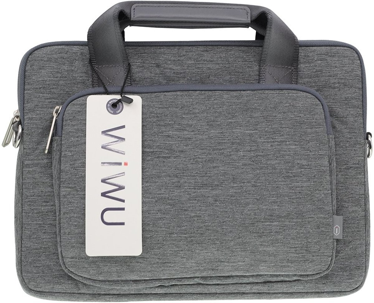 Canvas Business Handbag Shoulder voor Laptop tot 15 inch - Grijs