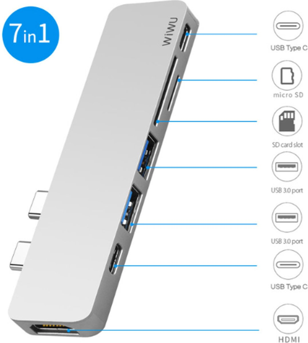 T8 USB Hub 7 in 1 Type-C Hub 3.0 Dual Type-C voor Macbook Pro USB-C Adapter met HDMI 4K Video PD Kaart SD/TF 3.0 USB Poort - Zilver